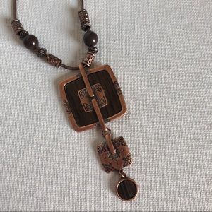 Jewelry - Copper & Brown Bead Necklace with Extender